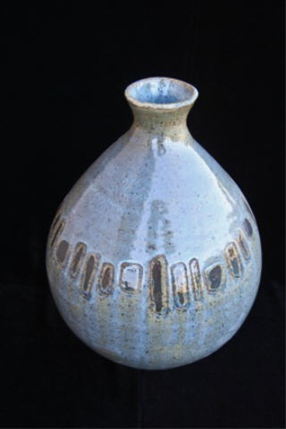 "Bridge  , 2003, wheel-thrown and carved stoneware Fired at cone 6 oxidation, 9 3/4"" h x 6 1/2"" dia"
