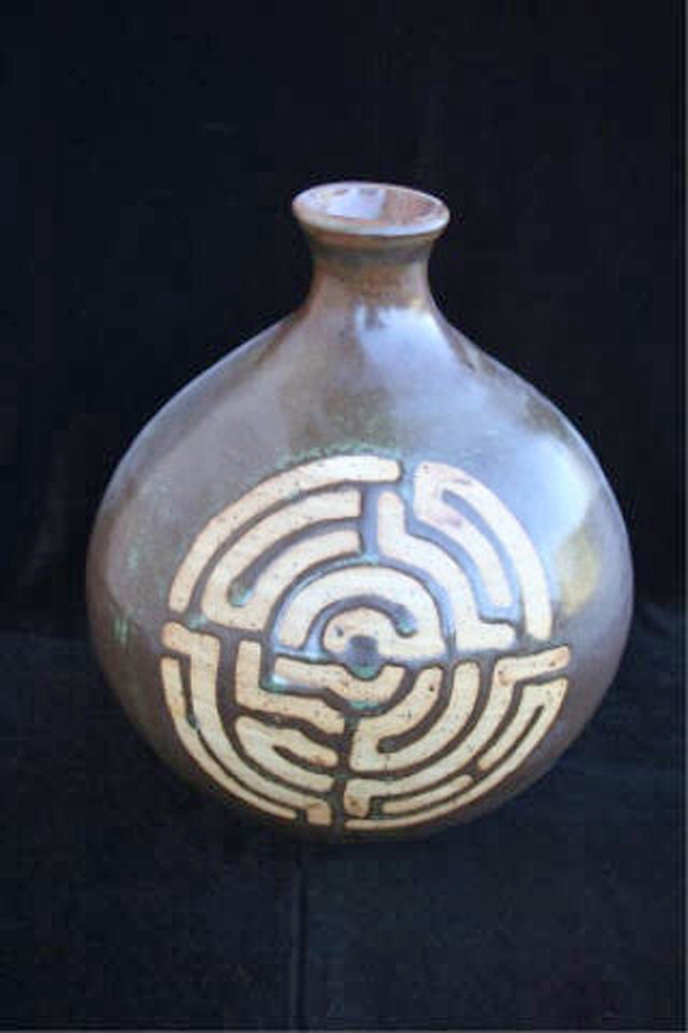 "Labyrinth in Iron  , 2007, wheel-thrown stoneware Fired at cone 6 oxidation,  8 1/2"" h x 7 1/2 dia Collection of Mrs. Andrienne M. Kravchuk, San Diego, CA"