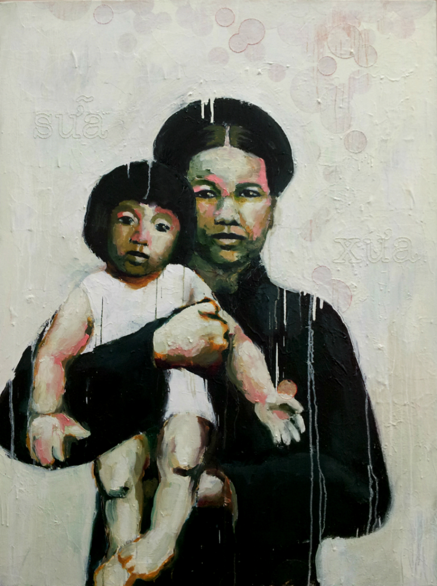 "Sữa Xưa   (  Milk of Old  ), 2012, Oil, acrylic, joss paper and hand stitching on canvas, 48 x 36"". Collection of P.Q. Phan and Anvi Hoang, Bloomington, IN.  Proceeding Bà Cố Phủ (Mẹ Của Mẹ Của Mẹ Của Mẹ Của Me, 2012), in both a genealogic and pictorial sense, this painting is drawn from photos of my mother and great-grandmother.  Continuing to explore the idea of abundance, I considered milk and its symbolism. Milk is the first form of nourishment that is offered to a newborn child, and represents fertility and God's blessings.  My great-grandmother, stoic and strong, prepares for the migration to the ""land of milk and honey"". She holds my dear mother whose eyes fill with wonder and whose face beams toward a bright future. My mother willingly reaches out to catch her blessings."