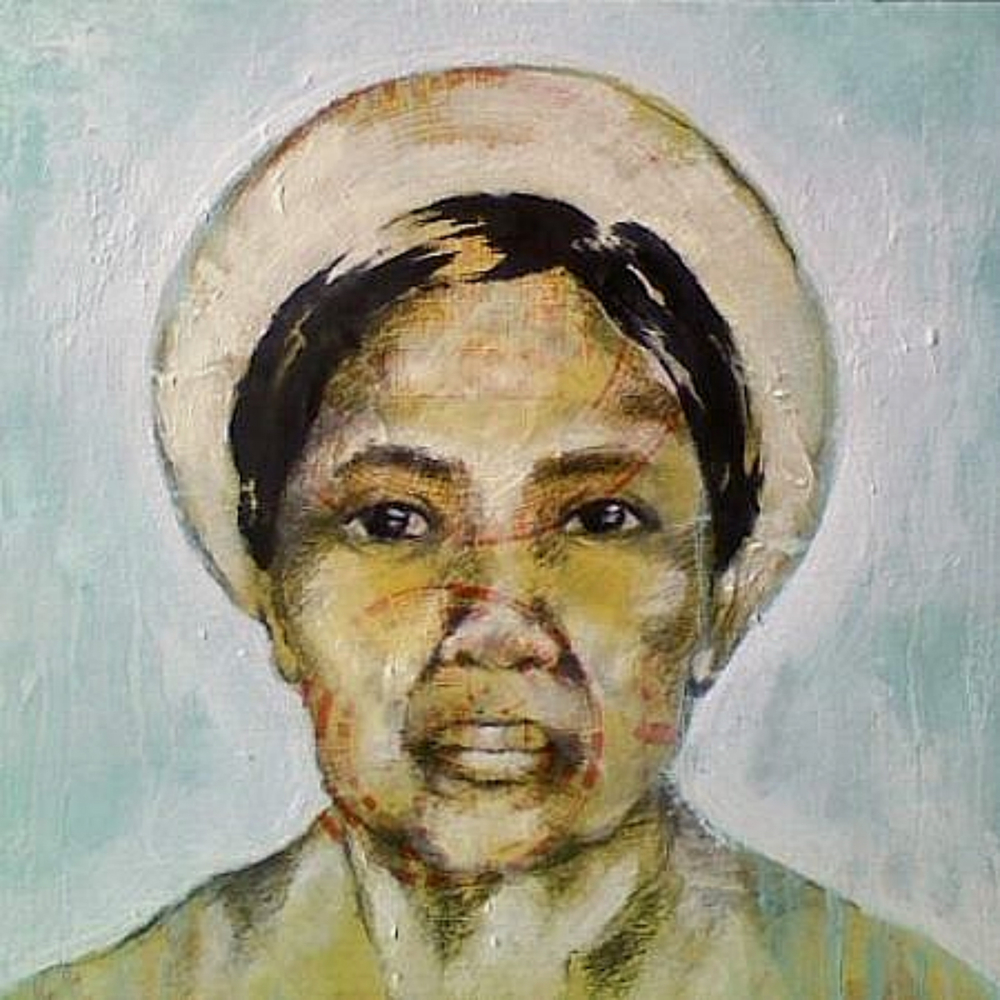 Bà Cố Ngoại  (Mother's Maternal Grandmother) , 2011, mixed media on canvas, 12 x 12""