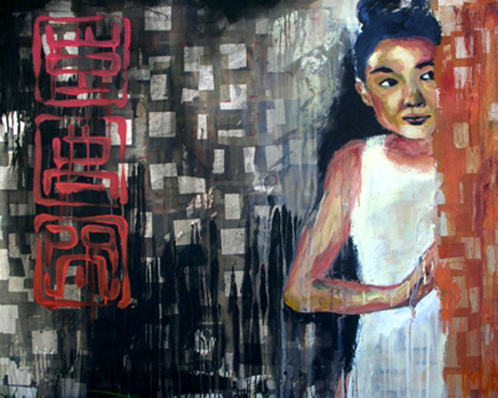 "Vượt Qua Rào Cẩn   (  Beyond These Walls  ), 2008 Oil, latex, and joss paper on canvas, 48 x 60"", Collection of Mrs. Claire Keery, Marco Island, FL  A young girl peers out from behind the wall. She knows there is much awaiting her.  This painting is about creating our own traditions, but at the same time, remembering our history and those places from where we have come. The red symbols abstractly spell out  Vượt Qua Rào Cẩn  in a traditional Chinese stamp motif. These stamps represent the transition from one place to the next- as would stamps on postcards, letters, or passports. They say, ""I am here""."