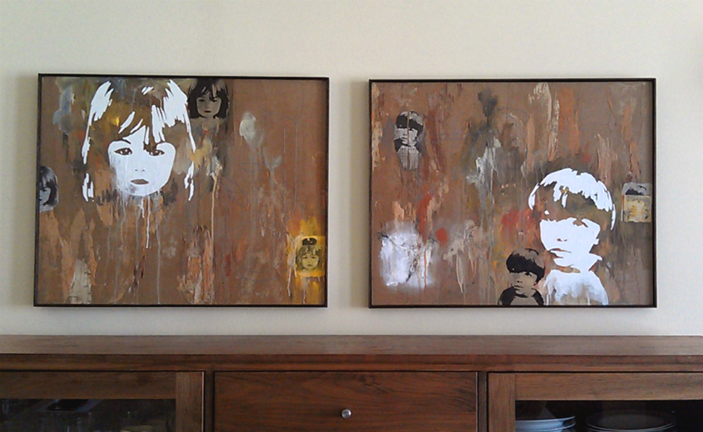 "Growth (성장)  , mixed media on canvas, 24 x 36"" each panel. Collection of Kelly and Helen Suhr, San Francisco, CA  When given absolute freedom, I enjoy working on commissions as they encourage me to step out of my comfort zone by co-creating with the client. Spending time with the client and sometimes visiting their home helps me gain a better sense of who they are, which allows me to gather a more substantial foundation upon which to create our piece.  It was a joy for me to work on these portraits of two very bright, beautiful children. After spending time with the Suhrs and learning of our shared love for the natural world, I decided to incorporate delicate layers of tree bark to represent life and steady growth. The children's portraits are painted and printed upon a array of materials, including this tree bark, joss paper and Korean newspaper, while the hand stitching reads ""성장"" , or ""growth"" in Han'gul, to honor their Korean heritage. These portraits celebrate youth and continual growth."