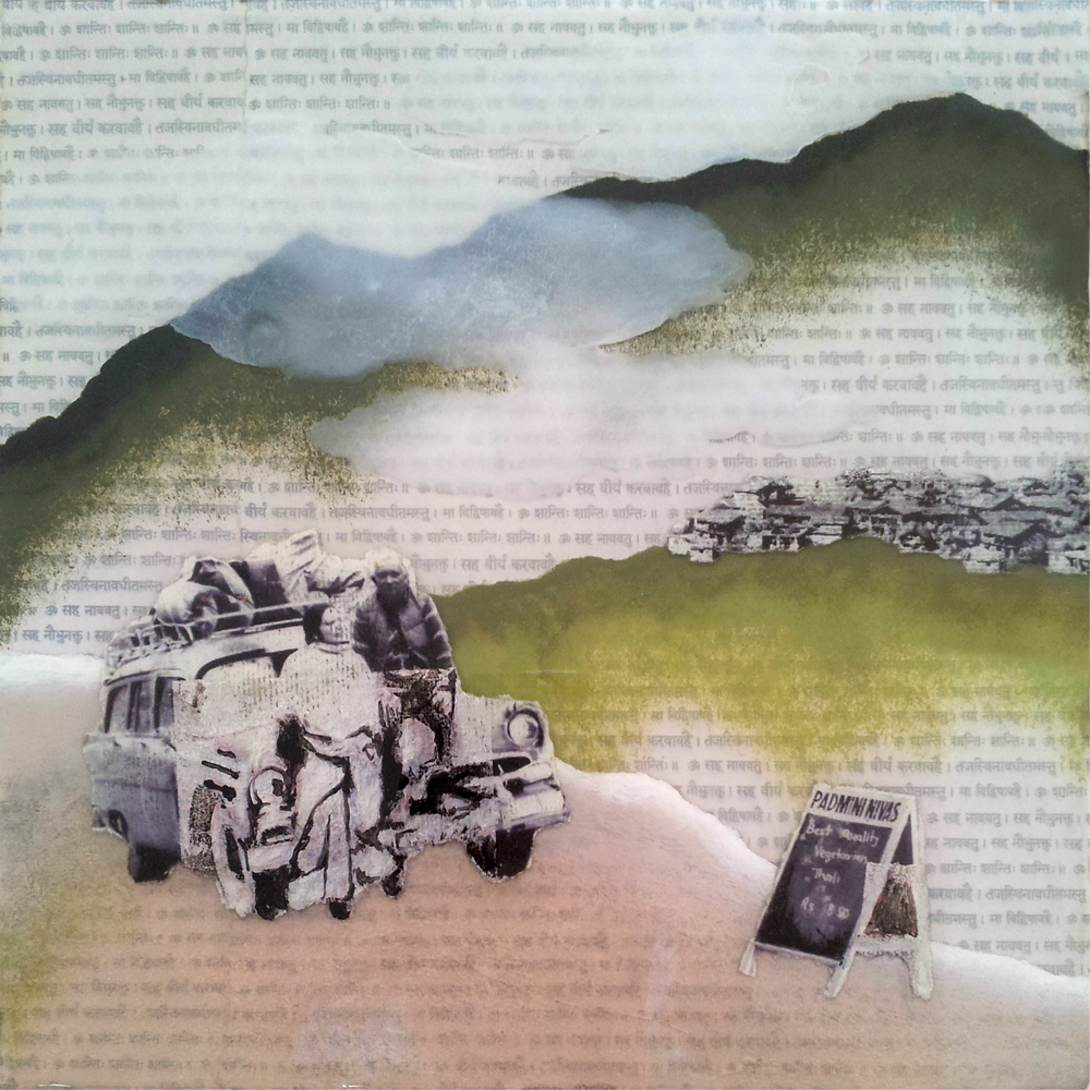 "We Have Arrived  , No. 7 from  Family Tree , 2013, Acrylic, ink, joss paper, tissue paper, and resin on panel, 10 x 10""  Mother and Father gaze into the valley, grateful to have arrived, as they ponder the distance they have had to travel to get here. After they lost much of their land in Dhanbad during the nationalization in the late 1970's, they rebuilt their foundation in Mussoorie. What began as a restaurant whose daily specials were advertised by a hand-written blackboard sign has blossomed into a thriving family business. A great testimony to what faith, will, perseverance, and working together can achieve."