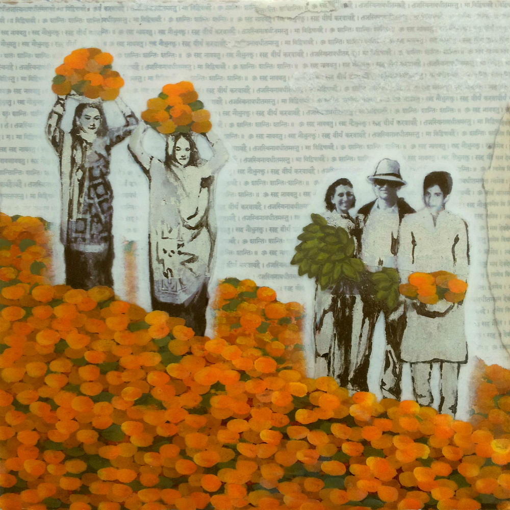 "Fields of Marigold  , No. 11 from Family Tree, 2013 Acrylic, ink, joss paper, tissue paper and resin on panel, 10 x 10""  Marigold is an auspicious flower in Indian tradition, also known as the ""Herb of the Sun"". This flower is symbolic of passion, creativity, and regeneration, bringing prosperity and happiness. The family wades through a field of marigold, as mother and daughter lift an offering for abundance and blessings for the path ahead.   While delivering the completed series, we spread the pieces out in front of the their existing batik painting to get a visual of how both artworks would dialogue since they would be hung on adjacent walls. We were pleasantly surprised to find that in this painting, mother and daughter, carrying baskets of marigold above their heads, echoed the multiple figures in their batik painting, whose women were also lifting baskets of marigold over their heads."