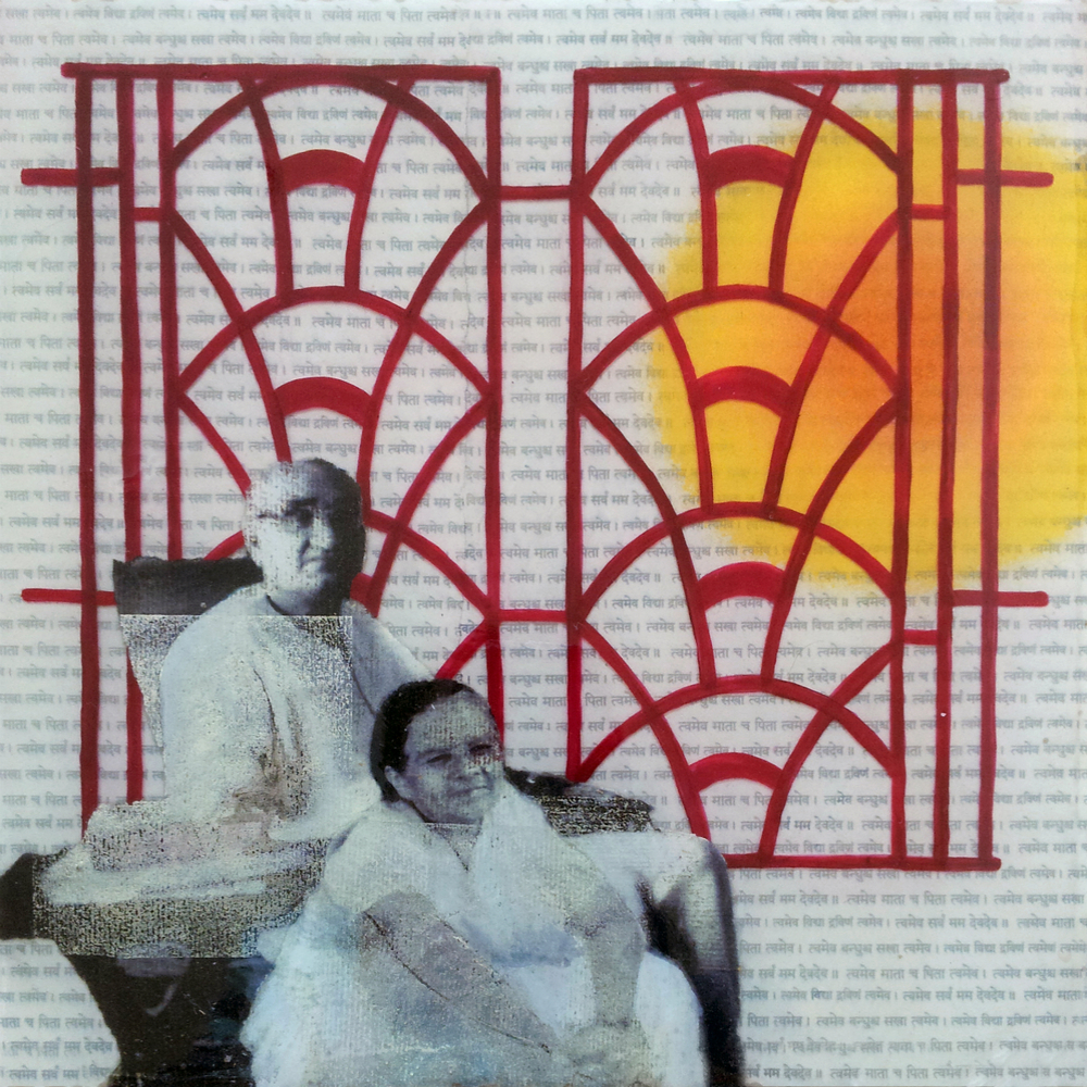 "Grandparents  , No. 3 from  Family Tree , 2013, Acrylic, ink, joss paper, and resin on panel, 10 x 10""  His grandparents sit contently as the sun rises over Dhanbad, their home town in eastern India. The windows reference their actual iron windows, and frame a multitude of family memories in their home."