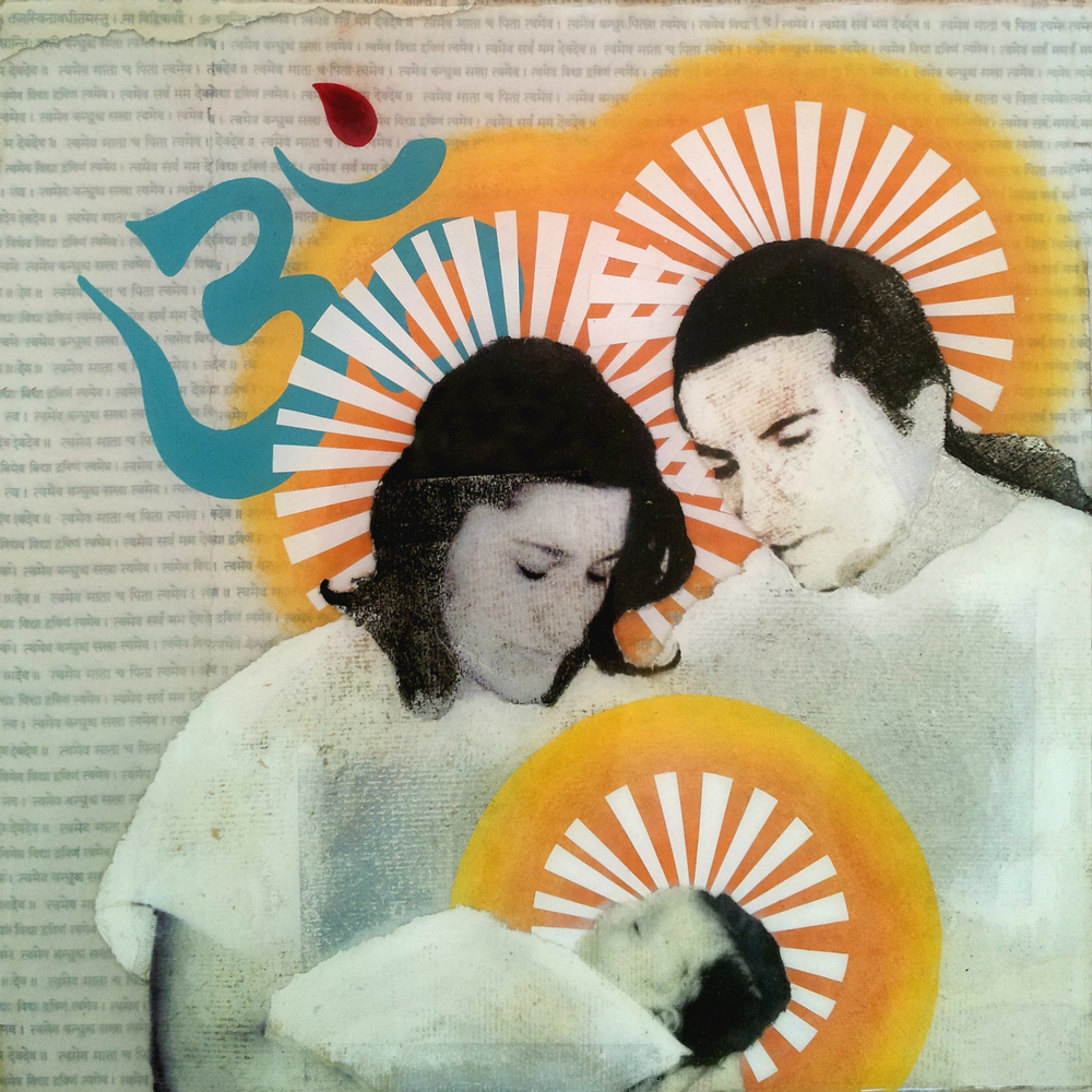 "A Prince is Born  , No. 6 from   Family Tree , 2013, Acrylic, kumkum, ink, joss paper, and resin on panel, 10 x 10""  The young couple welcomes into the world their first born son whose name means ""Prince of Earth "".  The Om   hovers over them and is marked with kumkum, a red tumeric powder which is traditionally placed on the sixth chakra, also known as the third eye, a space between the eyebrows which is believed to be the channel through which humankind opens spiritually to the Divine. As part of the Om, this dot represents absolute consciousness, and the open curve which cradles the dot represents an infinitely open mind, which is required to achieve that level of absolute consciousness. The sample of kumkum used in this piece was from the same morsel worn by the couple on their wedding day.  I was given some traditional materials to possibly include in the works, and among them was this kumkum which I had a difficult time determining where to place in the series. When she came over for the studio visit, she quickly pointed out that kumkum is customarily placed on the dot of the Om. Serendipitously, this piece was only one of the two pieces which I had not yet begun, and the only piece which included the sacred symbol."