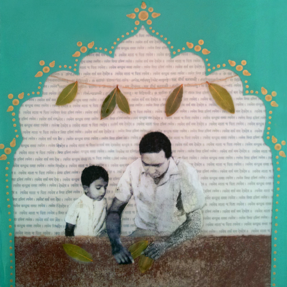 "Father and I,   No. 2 from  Family Tree , 2013, Acrylic, hand stitching, ink, joss paper, leaves, resin, and tissue paper on panel, 10 x 10""  In Indian culture, mango leaves are hung in doorways to wish the household abundance and prosperity at the time of celebratory events. These auspicious leaves hang overhead to bring blessing upon this sacred moment as father teaches son how to create their own blessings.   To prepare for this piece, I pressed the leaves into a book entitled  The Intelligent Investor , which I randomly grabbed from the shelf. After this piece was completed, I learned that the father, who was once the little boy in the photo, had co-authored a book with a similar title."