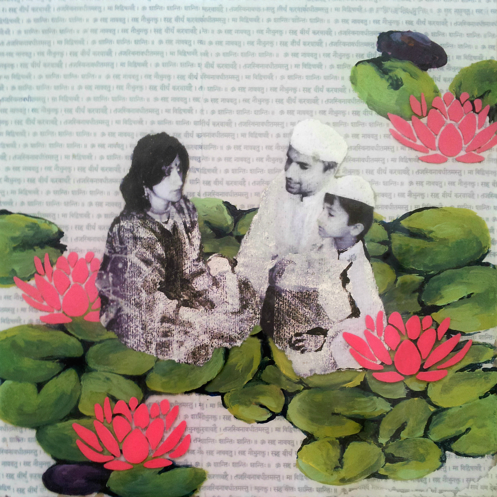 "We Rise Above  , No.8 from  Family Tree , 2013, Acrylic, ink, joss paper and resin on panel, 10 x 10""  The  family gathers among the lotuses, the sacred flowers which occupy a unique position in the art and mythology of ancient India. Because the lotus grows in muddy waters without the mire adhering to its blossom, this auspicious flower represents divine birth, purity, faithfulness, and the rising and blooming above the murk to achieve enlightenment."