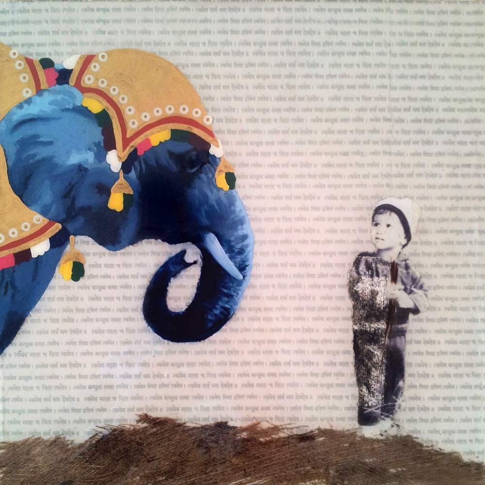 "Eye to Eye  , No. 1 from  Family Tree , 2013, acrylic, ink, joss paper, resin and tree bark on panel, 10 x 10""  A little boy stares in admiration at the elephant wearing a traditional ceremonial headdress. During one of the young boy's early visits to India, his parents recall onlookers marveling at this little boy befriending the giant beast named Arundhati without any reservation and an enthusiastically curious heart.  Coincidentally, I arranged this piece from two separate images before even having heard this story of the boy's account with the elephant, one of the family's dearest memories of his childhood."