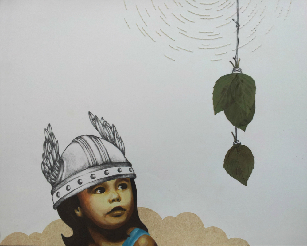 Little Warrior No. 1 ,  acrylic, charcoal, gouache, hand stitching, leaves, and tissue paper on paper. Collection of Mr. Paul Nakada and Mrs. Christine Hoang, San Francisco, CA