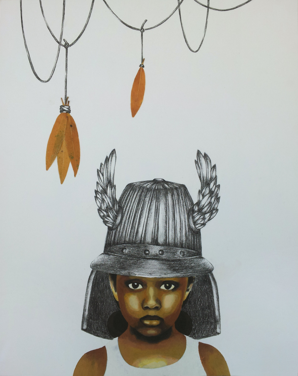 Little Warrior No. 2  , acrylic, charcoal, gouache, and leaves on paper