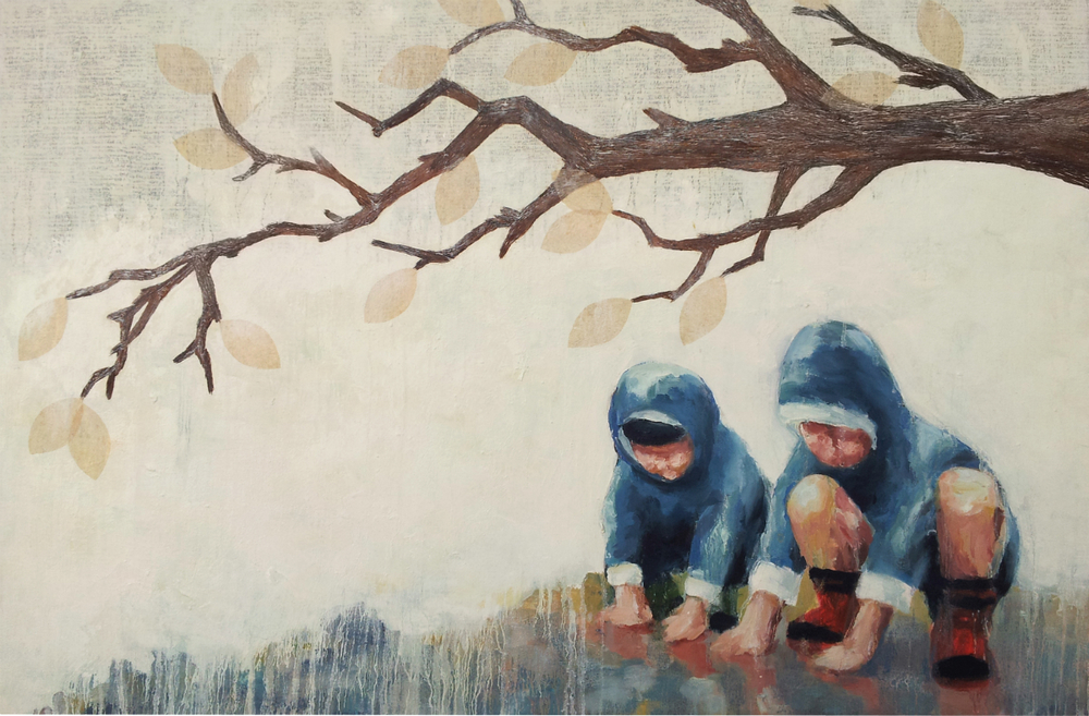"Little Princes  , 2014, Oil, paper, ink and tree bark on canvas, 24 x 36"", Collection of Robert and Taryn Lamm, Portola Valley, CA  A tender moment is shared between brothers as they find shelter under a tree. With palms to their reflections, they embrace the sanctity of a rainy day. Above them, a cloudy haze envelops this tranquil scene, a fog created by the children's own handwriting.   To prepare for this painting, I asked the boys to write some of their mother's favorite quotes from The Little Prince, written by Antoine de Saint-Exupéry, which their parents frequently read to them during childhood. I embedded their writings into the painting, as notes written to their future selves of sorts, a reminder of some of life's important details.   Their handwriting reads:  I wonder whether the stars are set alight in heaven so that one day each one of us may find his own. The thing that is important is the thing that is not seen. One sees clearly only with the heart. Anything essential is invisible to the eyes. Only the children know what they are looking for."