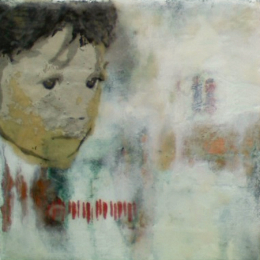 "Our Very Own (6th Child)  , 2011, Mixed media on canvas, 6 x 6"","