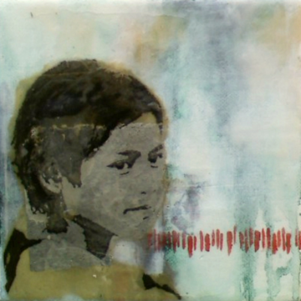 "Our Very Own (2nd Child)  , 2011, Mixed media on canvas, 6 x 6"", Collection of Paul Saunders, San Francisco, CA"
