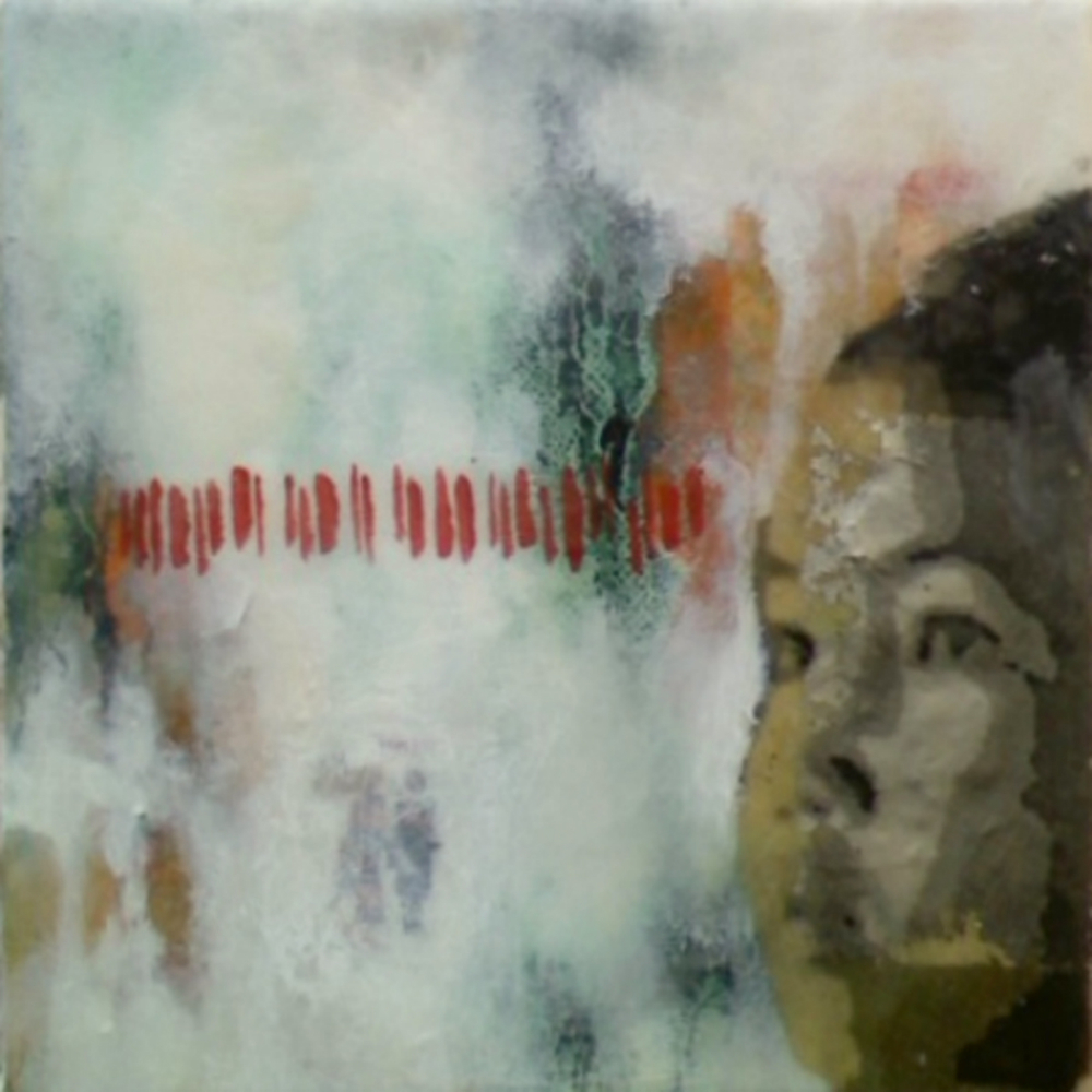 "Our Very Own (3rd Child)  , 2011, Mixed media on canvas, 6 x 6"", Collection of Christopher Hest, New York, NY"