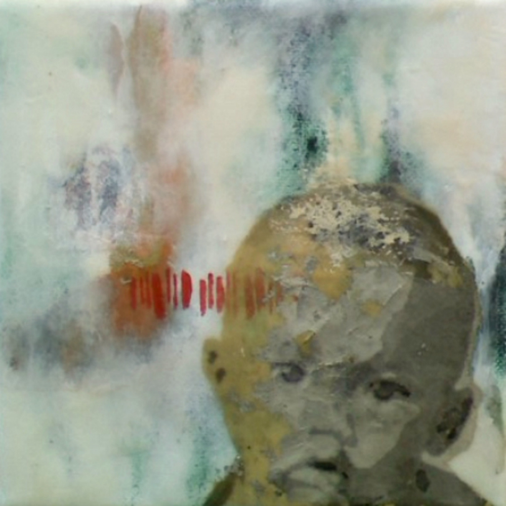 "Our Very Own (5th Child)  , 2011, Mixed media on canvas, 6 x 6"", Collection of Christopher Hest, New York, NY"