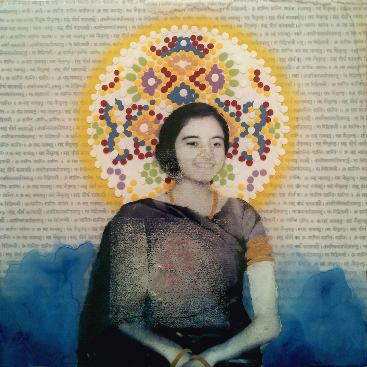 "Sister of Mine , No. 4 from Family Tree, 2013 Acrylic, ink, joss paper, and resin on panel, 10 x 10""   Their beloved sister is honored and uplifted upon the Arabian Sea, the waters she grew to know so well from the shores of Bombay, where she had lived her entire life."