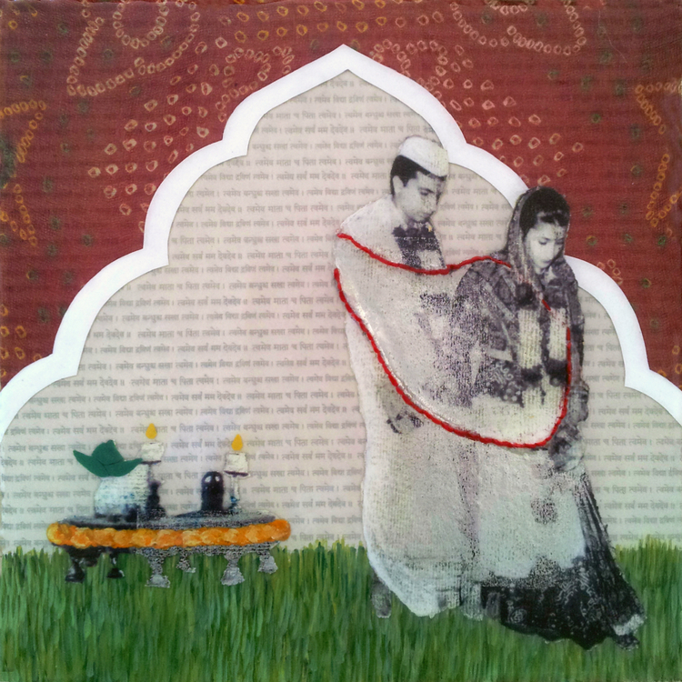 "Wedding Day  , No. 5 from  Family Tree , 2013, Acrylic, fabric, hand stitching, ink, joss paper, and resin on panel, 10 x 10""  Rooted in Indian tradition, the couple step out into the community as husband and wife, binded by their love for each other and by a sacred red cord. The significance of the red cord is twofold: it helps preserve and absorb blessings while also protecting and helping to ward off evil. Above them, a gateway is constructed with a remnant from the bride's sari worn on her wedding day, red being the traditional color of Indian brides as it is considered a color of honor, love, and prosperity.  An altar is adorned with candles, marigold, which symbolizes creation and regeneration, and a pot with coconut leaves placed overtop of it, representing a womb."