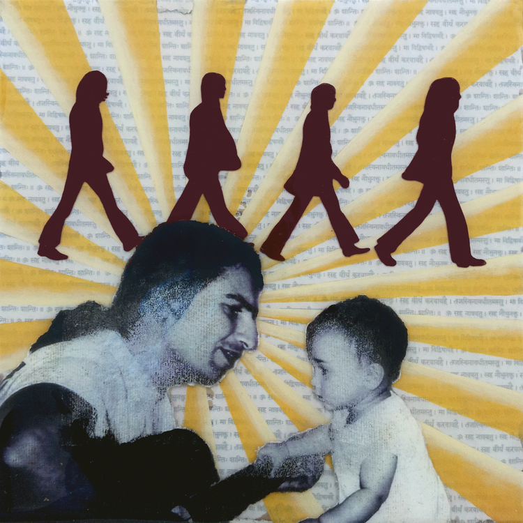 "Yesterday  , No. 9 from  Family Tree , 2013, Acrylic, ink, joss paper and resin on panel 10 x 10""  A tender moment captures father serenading son. For the family, the Beatles have always been a shared inspiration, conjuring pivotal moments in their family's history.  A faithful fan since childhood, father played guitar in a band which covered countless Beatles songs. Years prior, he wore a black arm band for an entire year to mourn the death of his favorite Beatle, John Lennon. Later down the road, his first shared moment with his future wife would be on the school bus as he passes her his walkman with the Beatles blaring from the headphones. As they began their family, he continued the tradition, often playing guitar and singing to their son. Father and son continue making music together still today.  Among a plethora of Beatles images, I chose to include the portrait from cover of the Beatles' Abby Road to to symbolize this moving forward together. After this piece was completed, I learned that when they first purchased their home, they were greeted with an enormous poster of this very album cover."