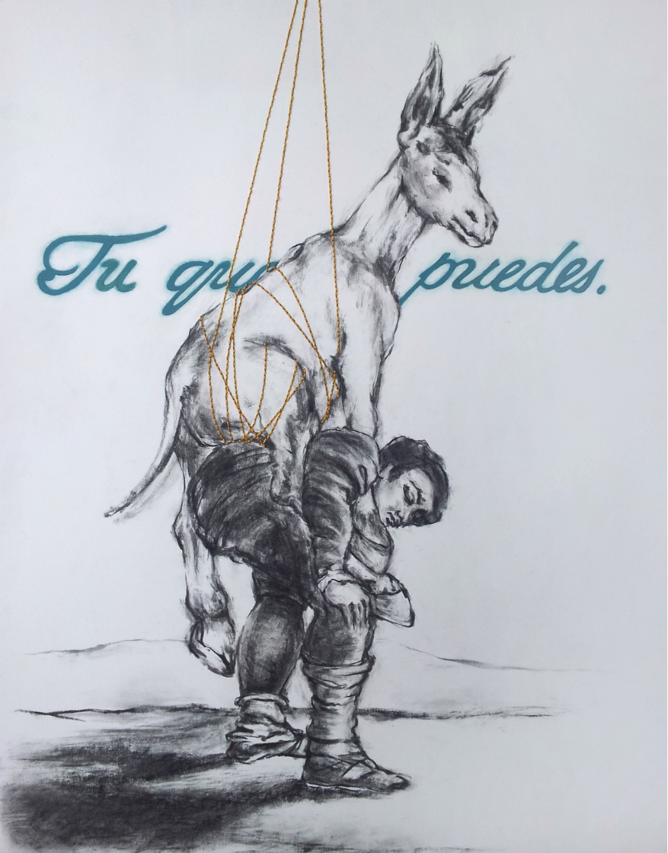 """Tu Que Puedes  , 2014, Mixed media on paper, 24 x 18""""  While studying Spanish painter Francisco de Goya's etchings, I was stricken by the deep, dark honesty of his work in which he observed the mistakes and shortcomings of society. This piece quotes one of Goya's etchings from his Los Caprichos series. In his etching captioned """"Tu que no puedes"""" (1797), translating to """"You who cannot"""", two men bear the weight of a pair of mules upon their backs.  By recreating and embellishing the work with elements of support and relief, I have taken the insufferable hopeless reality which Goya had lived and created, and have recharged it into one that offers assistance and consolation. """"Tu que no puedes"""" becomes """"Tu que puedes"""". """"You who cannot"""" becomes """"You who can"""".   This piece speaks on the release of these burdens and the assistance that can be offered by those who surround us, aid that can sometimes be veiled by the looming haze caused by affliction."""