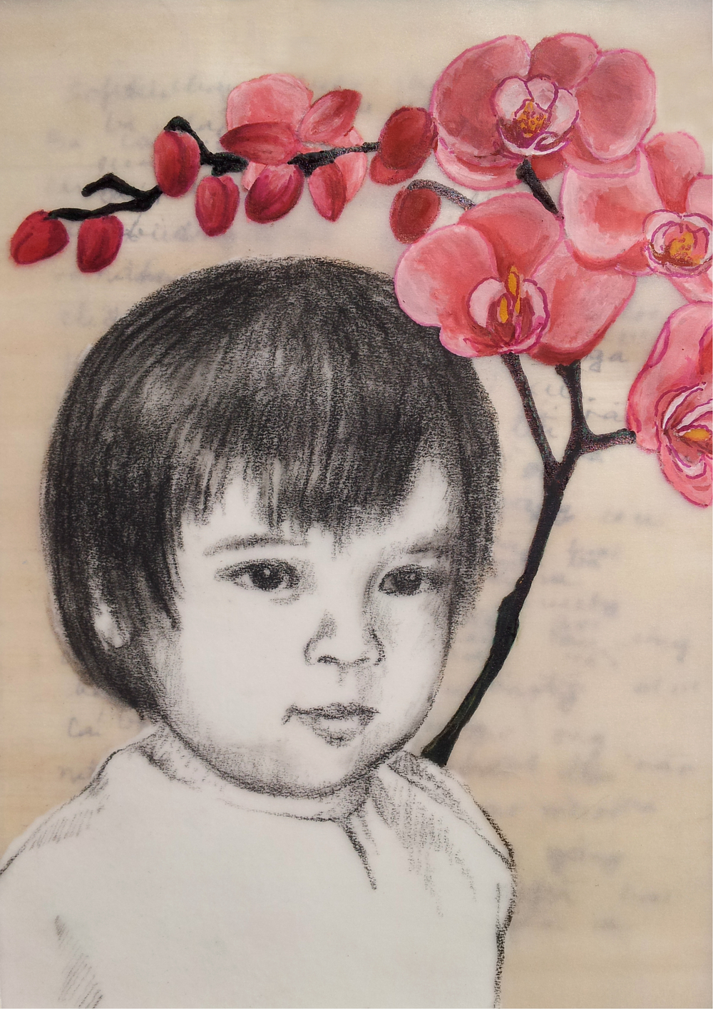"Love Letter No. 3   (  Sophie with Orchids  ), 2014, Mixed media on papyrus and mylar, 6 ¾ x 4 ¾""  An orchid hovers over young Sophie, orchids representing the innocence of children."