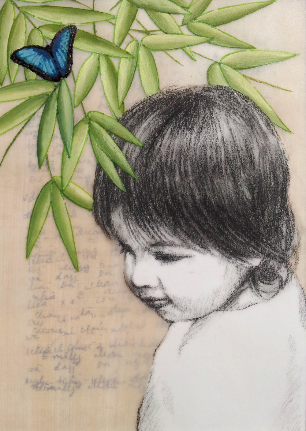 "Love Letter No. 2   (  Emily with Bamboo and Butterfly  ), 2014, Charcoal, gouache, and ink on paper, ink on papyrus and mylar, 6 ¾ x 4 ¾""  Emily finds shelter under a bamboo tree upon which a butterfly perches. Bamboo signifies strength and grace, while the butterfly is a symbol for the journey of the soul."