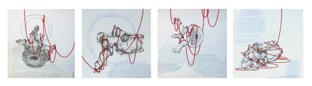 "I Breathe With You  , collaboration with Kelly Clark, 2015  Acrylic, charcoal, collage, graphite, hand embroidery, and ink on paper, 6 x 6"" each"