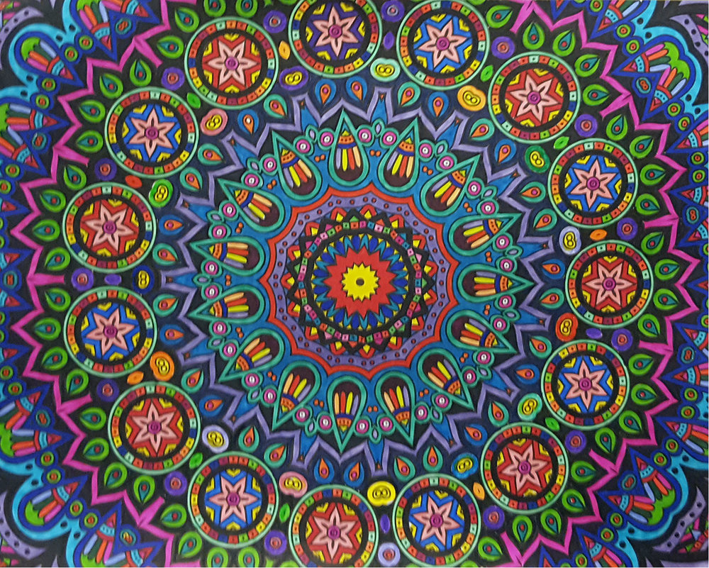 Joe's gorgeous mandala was colored in with sharpie markers. Mandalas are spiritual symbols thatrepresent the universe. In various spiritual traditions, mandalas may be used as a spiritual guidance tool, and for establishing a sacred space.