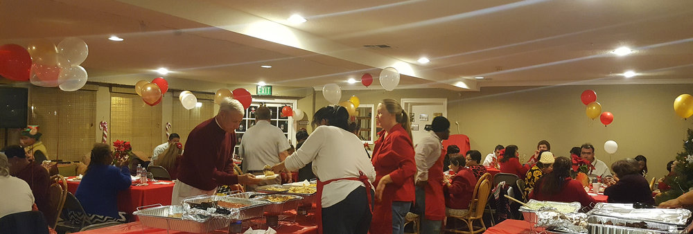 LA VERNE'S FRIENDS CAME TO CELEBRATE WITH US AND SERVE THE RESIDENTS CHRISTMAS DINNER. WHAT A LOVELY BUNCH!