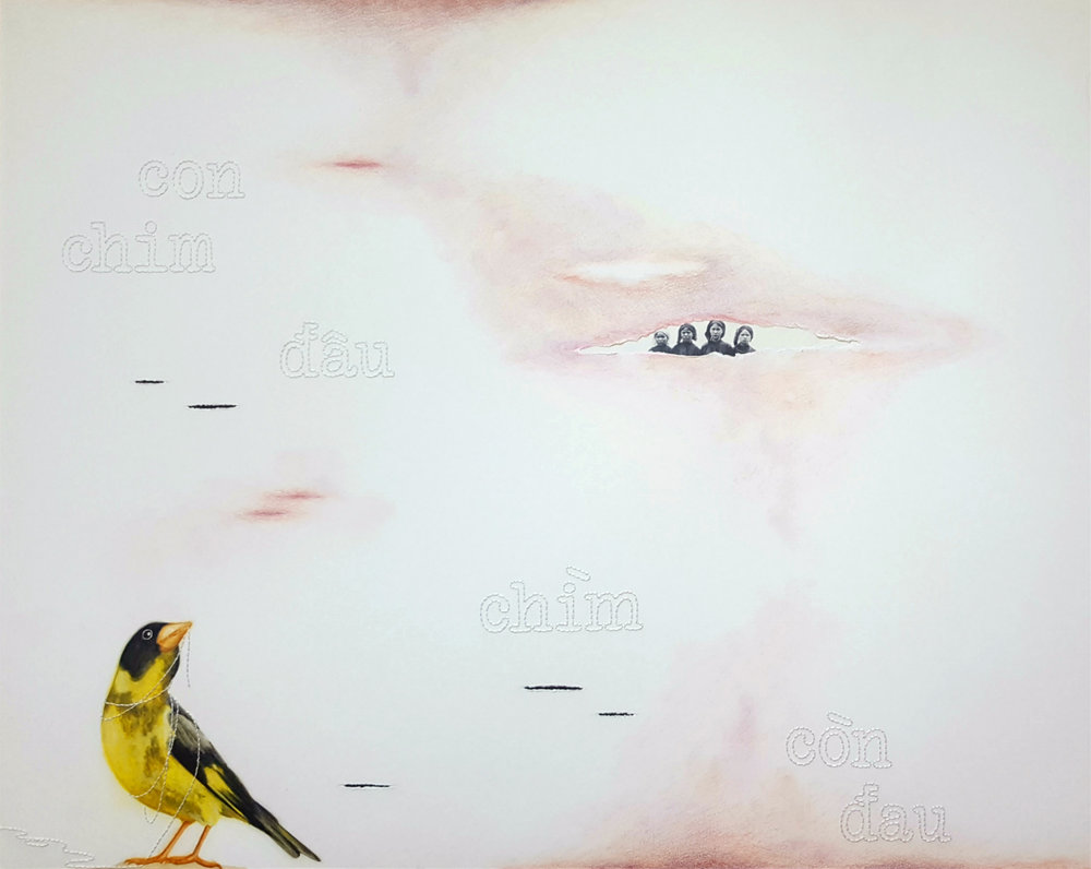 "Con Chim Đâu (Where is the bird) , 2018. Charcoal, color pencil, gouache, hand embroidery, ink, joss paper, photo transfer, rainwater from Vietnam, and tears on Arches paper, 33 x 29"".  A Vietnamese greenfinch looks to her ancestors as she loosens her bind. Three phrases fall gently from above. They read,  con chim  đâu (where is the bird),  chìm  (drown), and  còn đau  (still hurting). The other hidden bird, the flicker woodpecker, which symbolizes healing, watches silently from above.  As I rub rainwater from Vietnam and tears that have been shed for the dead into the piece, they create lesions that tear into the narrative. This piece speaks on the suffering of humanity, and the hope that we have to free ourselves from it."