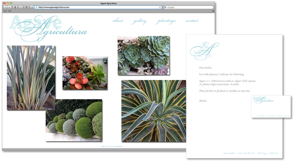 Landscape Designer website, content added, close-up.