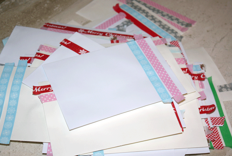 Here's a pile of envelopes before they've been trimmed.