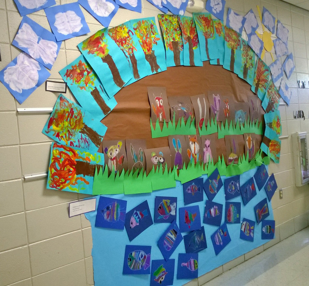 The class was learning about the Earth.  They learned earth, water, gas, and then plants, mammals, etc.  I connected with lines shapes and patterns and different stories that showcased each project.