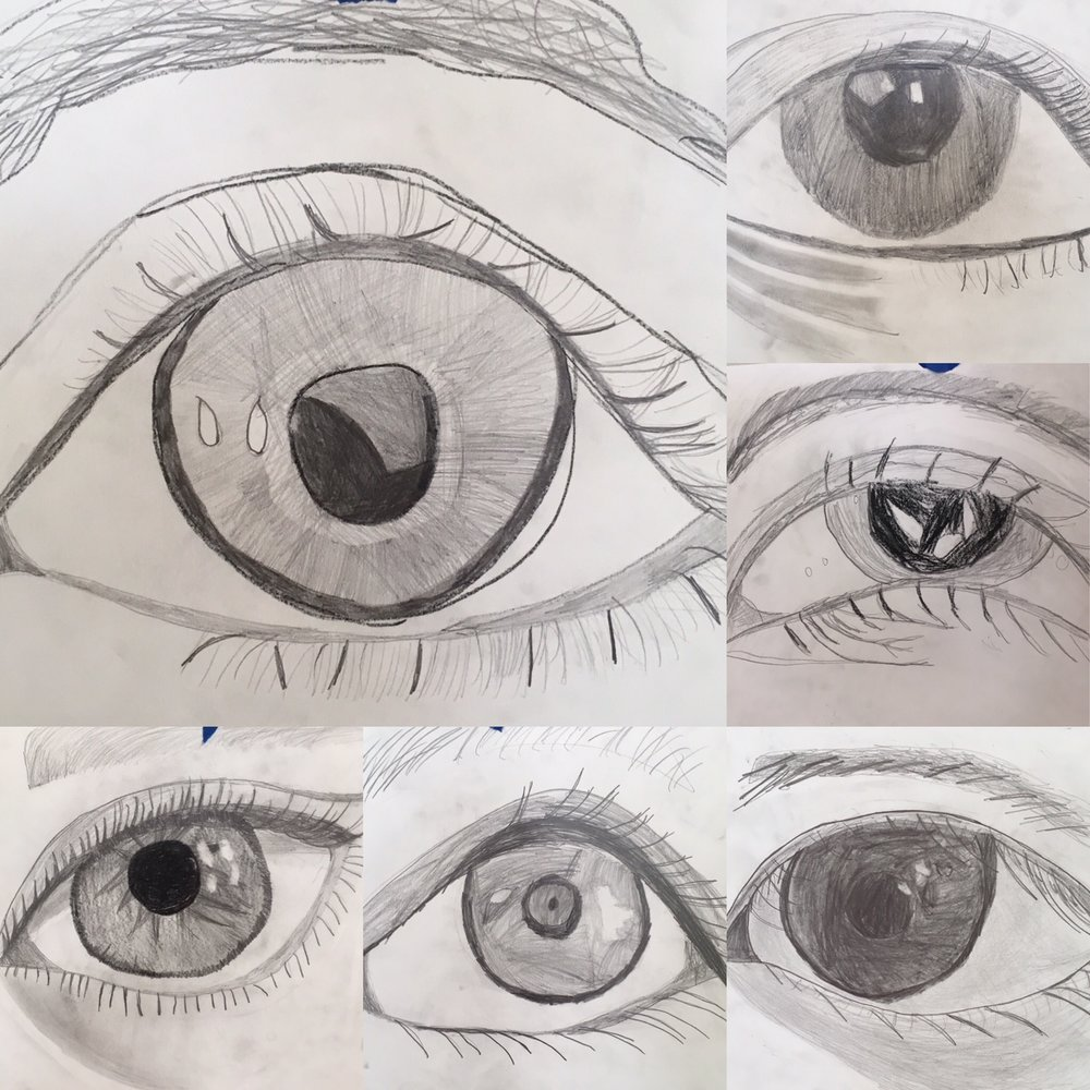 I took a picture of each students eye, converted it to black and white, printed it.  Then the students drew their eye really big on paper with pencil.