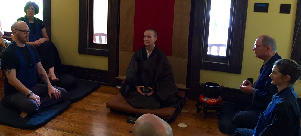 Abbot Gaelyn Godwin answering questions after the Dharma Talk
