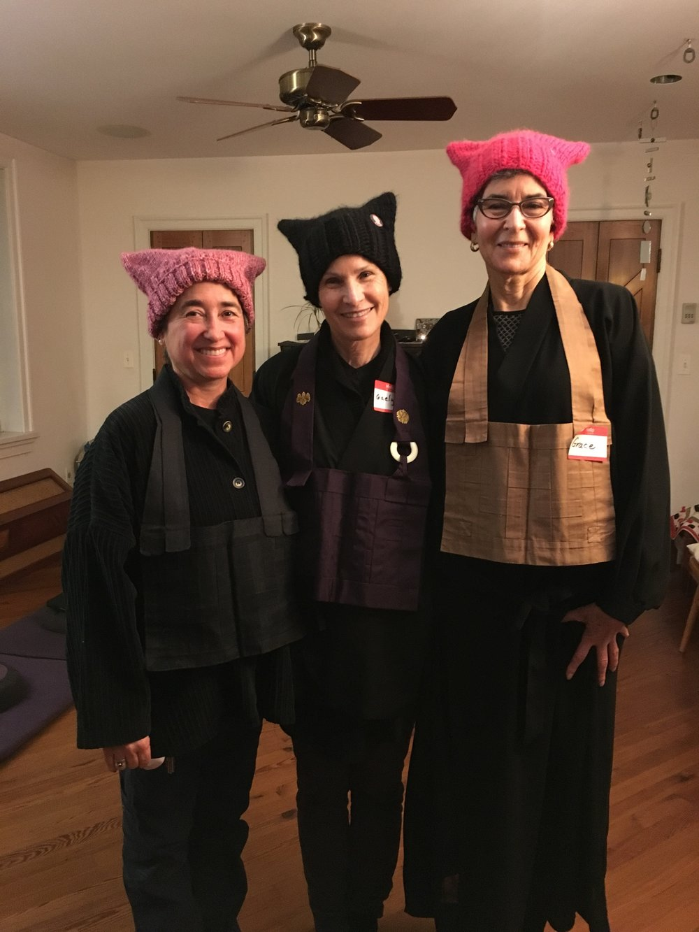the 3 organizers of the Zen contingent to DC: Inryu Ponce-Barger, Abbot Gaelyn Godwin, Grace Schireson, left to right.