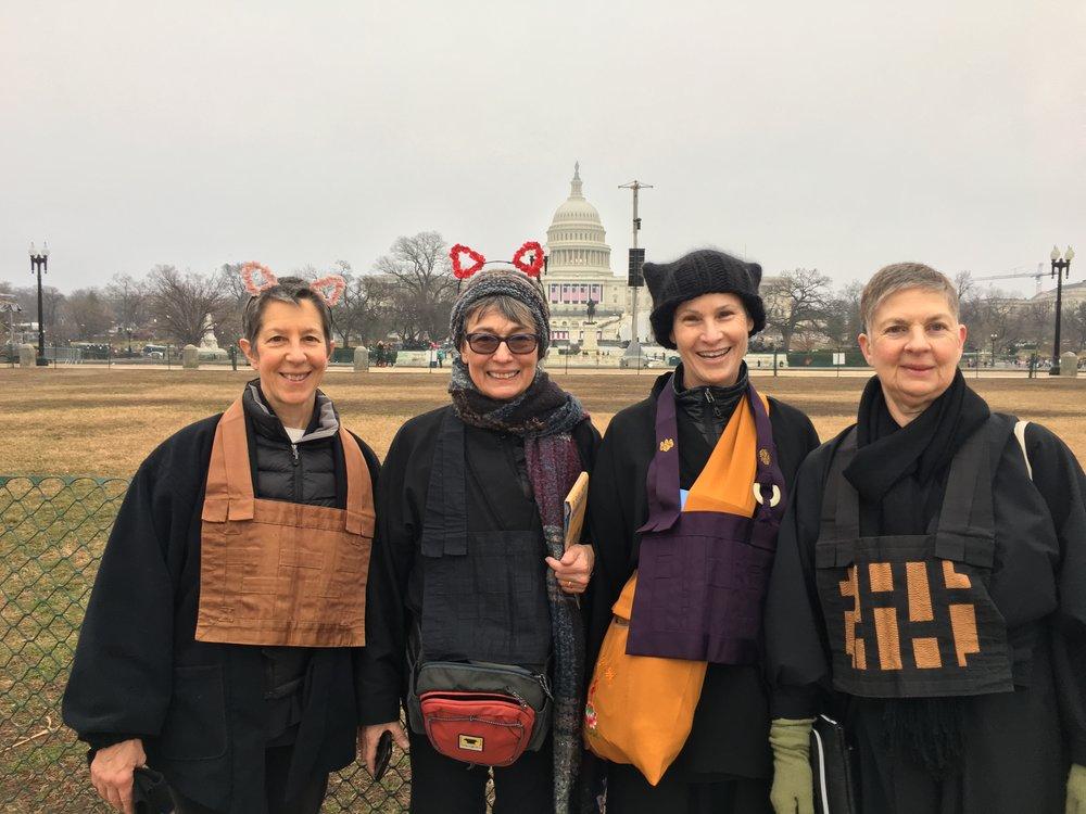 Roommates in DC: SFZC President Linda Galijan, Zen Teacher Joan Hoeberichts of Heart Circle Sangha in Ridgefield, NJ, Abbot Godwin, SFZC Central Abbess Linda Ruth Cutts