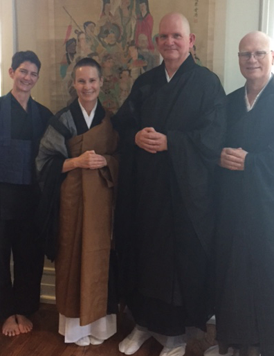 Tricia McFarlin, Abbot Gaelyn Godwin, Tim Schorre, and Dave Johnson