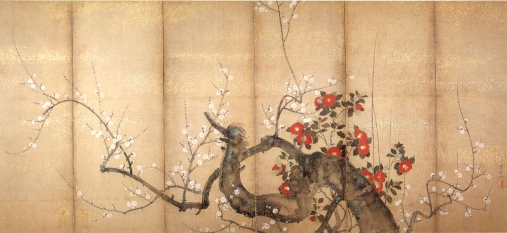Flowering Plum and Camellia , six-fold screen by Suzuki Kiitsu, c. 1850s, ink, color and gold on paper, Japanese