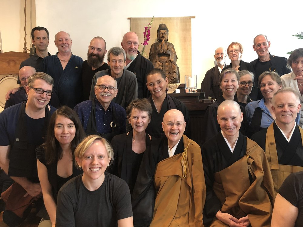 Village Zendo: Enkyo Roshi, center; Joshin Sensei, left, Abbot Gaelyn, right.