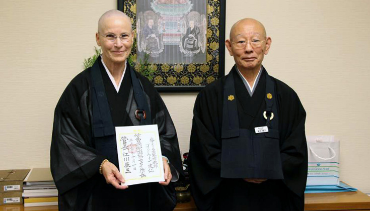 Konjin Gaelyn Godwin Roshi receiving the appointment as the new Director of the Soto Zen Buddhism International Center at Sotoshu Shumucho in Japan. Photo via Soto Zen Buddhism International Center on    Facebook   .