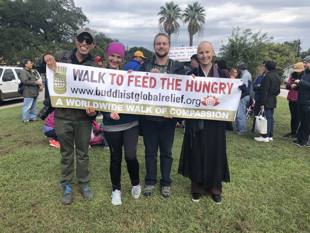 Daniel, Jessica, Richard, and the Abbot on a cool day in November at the March to Feed the Hungry