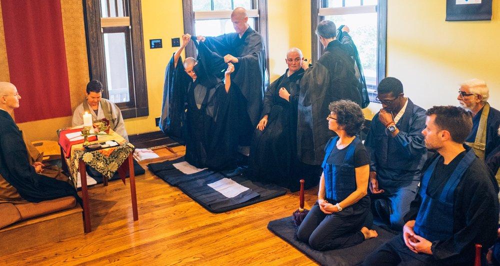 Zengetsu Vicki Glenn and Sengetsu Tricia McFarlin receiving ordination as Zen Buddhist priests