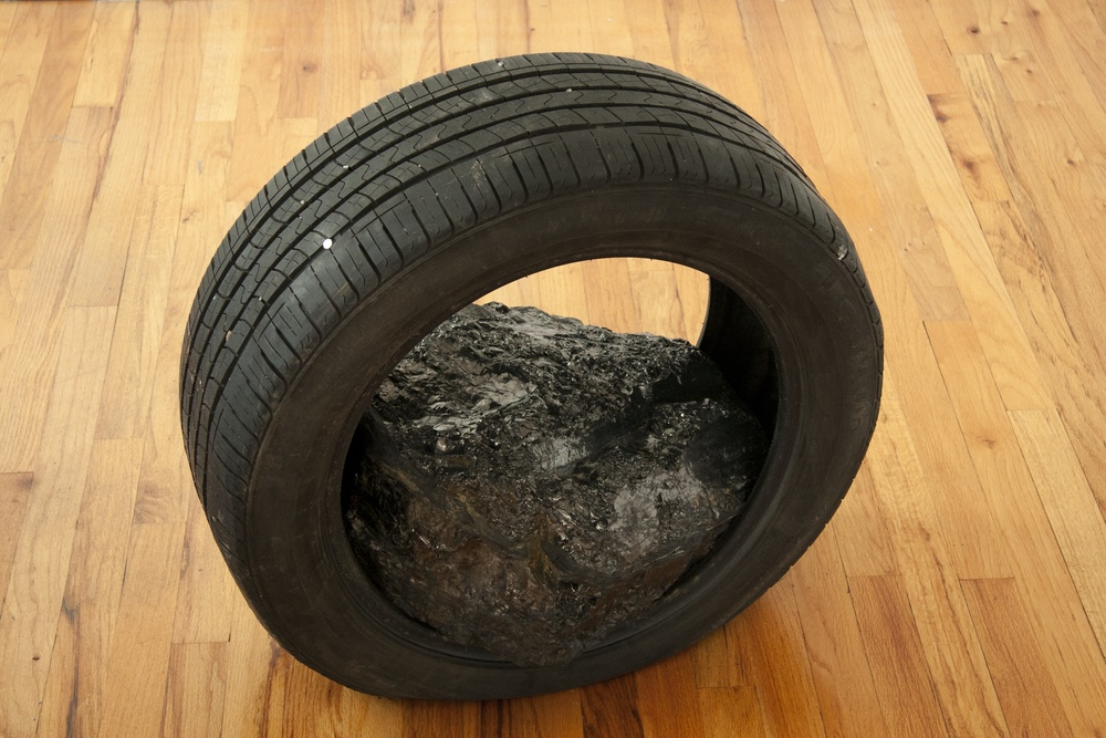 "Terra, 2013 tire, anthracite 23"" x 25"" x 14"""