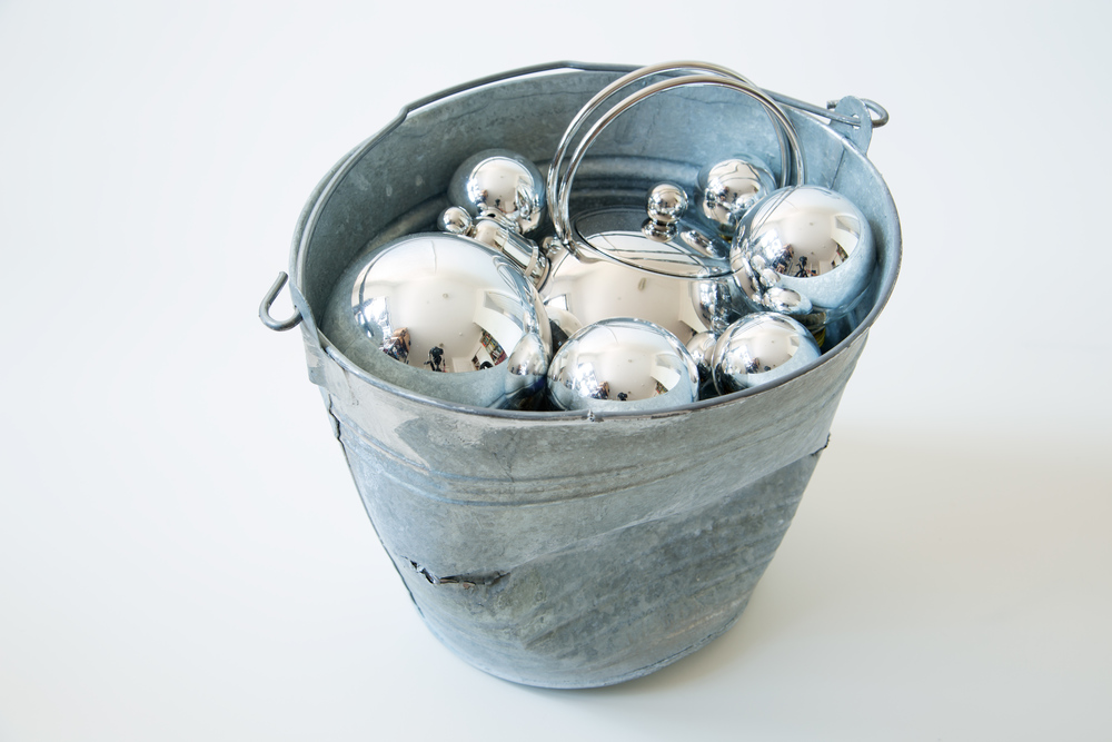 "Mercury  , 2014  pail, light bulbs, teakettle  11"" x 15"" x 10.5"""