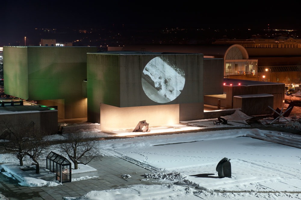 Perigee, 2011 video projection on Everson Museum, NY