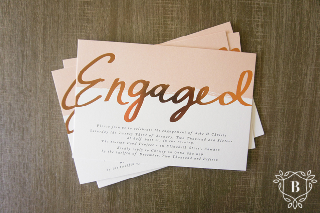 Copper foil engagement invitation