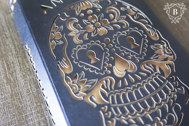 Sugar skull laser cut wedding invitation