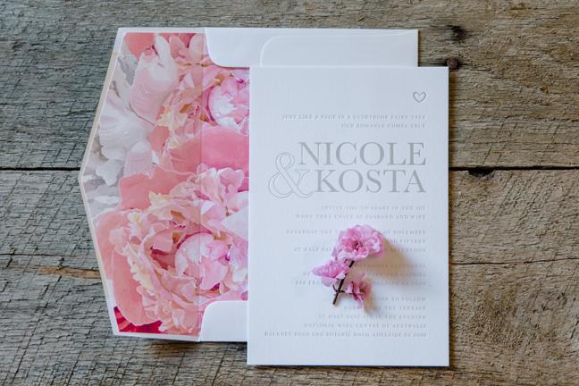 Letterpress invitation with floral envelope liner