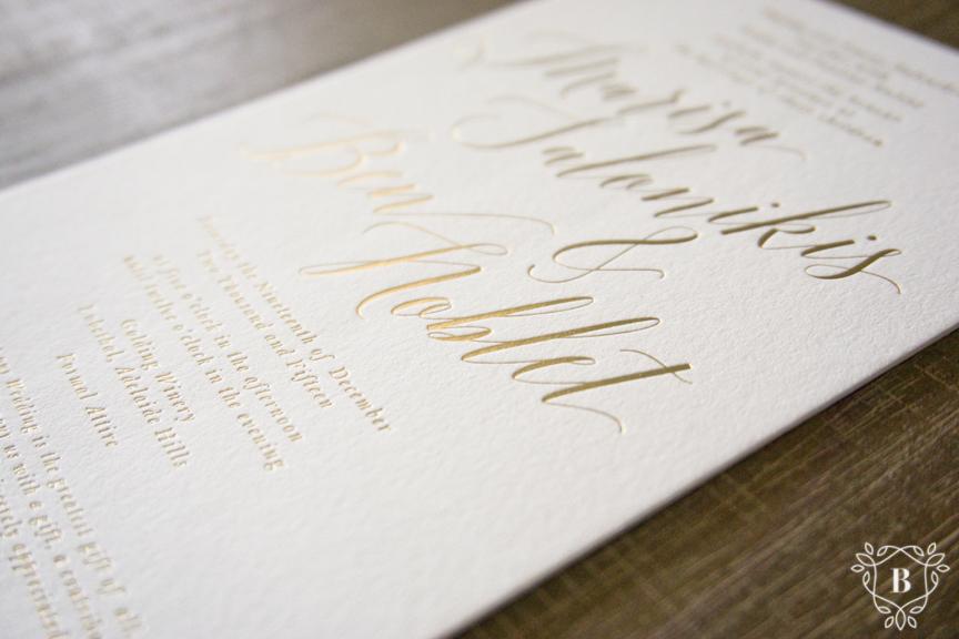 Gold foiled invitation